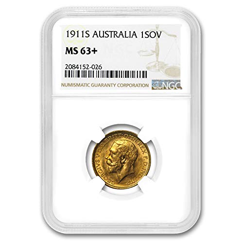 1911 AU S Australia Gold Sovereign George V MS-63+ NGC Gold MS-63 NGC (Set Dragon Gold Coin)
