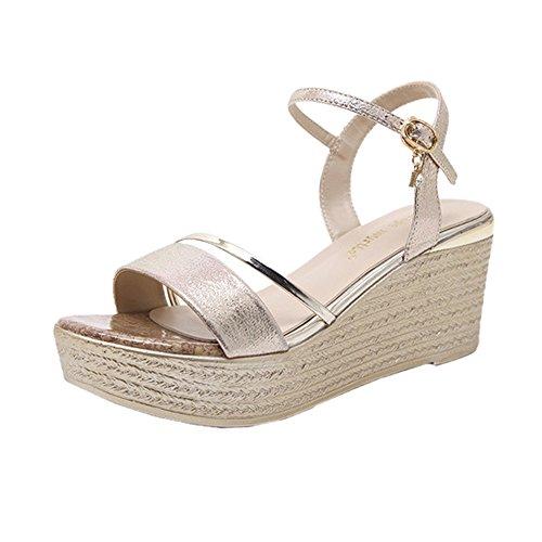 Toe amp; 7cm Tacchi Platform Shoes Zeppa Alti W Summer Womens H Open D'oro Con Sandali f4xvfwZ