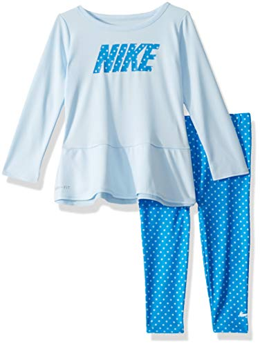 Nike Kids Outfit - NIKE Children's Apparel Baby Girls Long Sleeve Top and Leggings 2-Piece Set, Signal Blue/Cobalt Tint Dots, 24M