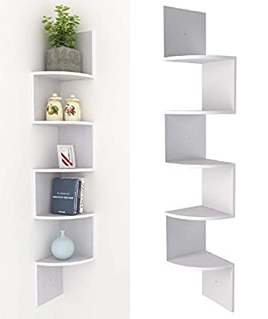 AIMADO Scaffale angolare a 5 ripiani, mensola da ufficio, libreria, divisorio, mensola da parete, nero/bianco, Nero