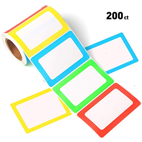 FANGTEK Colorful Plain Name Tag Labels 3 1/2 X 2 1/4, 200 Stickers.