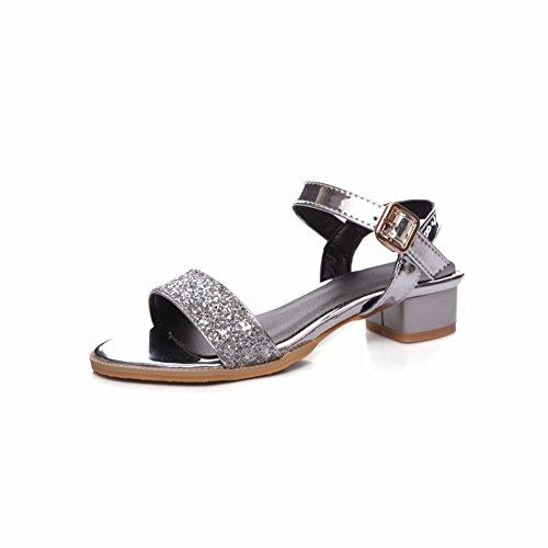 Mee Shoes Women's Chic Buckle Shining Sandals Silver xNLFog63i