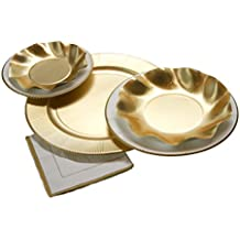 Sophistiplate Disposable Paper Plate Set, Classic Gold Plate Set, for 8 Guests, 64 Pieces for holidays, parties, showers, and any special entertaining!
