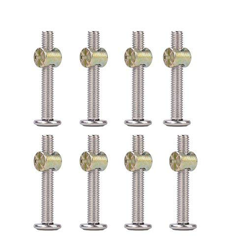 Crib Hardware Screws, Stainless Steel Hex Drive Socket Cap Furniture Barrel Bolt Nuts Kit for Furniture, Cots, Beds, Crib, and Chairs- Pack of 8 (M6 x 2 Inch)