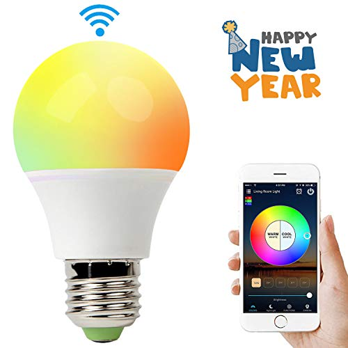 smart wifi bulb work with alexa 6 5w rgbcw led light bulb dimmable multicolored lights no hub. Black Bedroom Furniture Sets. Home Design Ideas
