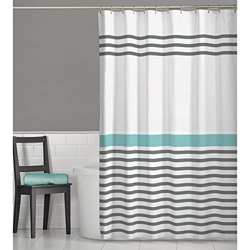 MAYTEX Simple Striped Fabric Shower Curtain, 70 inches x 72 inches, Multi Grey (Shower Curtain Teal Grey)