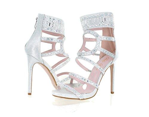 Urban Heel Women's Rhinestone Strappy Gladiator Stiletto Heels by Urban Heel