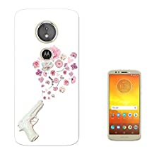 "002996 - White Fake Gun Shooting Floral Roses Flowers Peace Design Motorola Moto E5 Play 5.2"" Fashion Trend Case Gel Silicone All Edges Protection Case Cover"