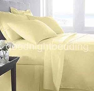 4piezas Juego de sábanas–-- 400hilos amarillo sólido Euro Super King 100% algodón egipcio Extra profundo bolsillo (15Inche)–as1