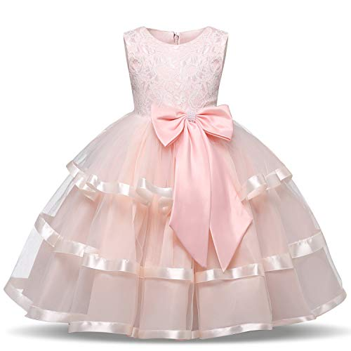 TTYAOVO Flower Girls Wedding Dress Bowknot Princess Pageant Dresses 2-3 Years T-Pink (Size -