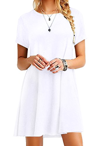 (OMZIN Women's Loose Short Sleeve Stretch Solid A-Line Short Dresses White 3XL)