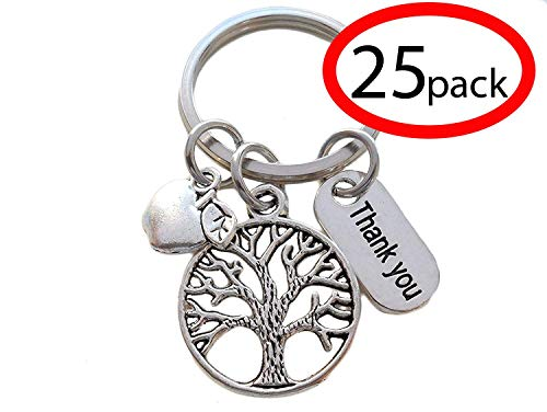- Tree Keychain Appreciation Gift, Thank You Charm with Apple Charm Keychain - Thanks for Helping Me Grow (Set of 25)