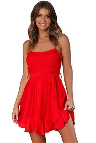 LOMON Beach Dress Women's Summer Slim Strappy Sleeveless Tie Waist Ruched Flounce Mini Dress (Red,XL)