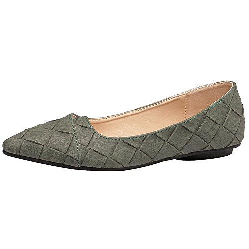 (Jamron Womens Pointed Toe Ballerinas Lightweight Flat Pumps Taupe SN02711 US10)
