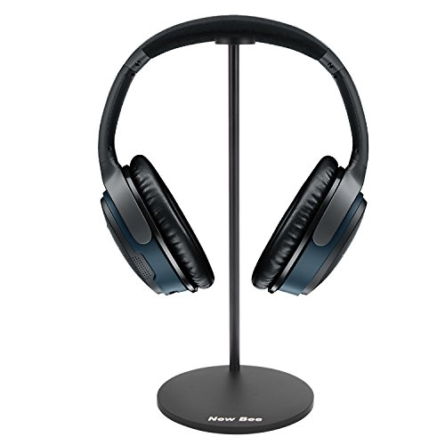 Headphone Holder Desk, New Bee Gaming Hanger Headset Support Wireless Headphones Display Stand for Desk, Earphone Mount, All Over-ear Headphones - Aluminum Black Steel -