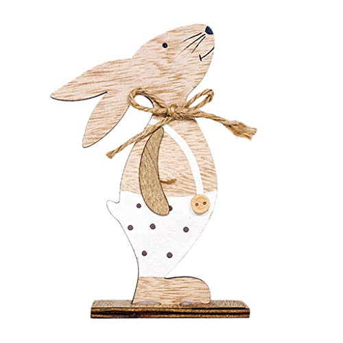 (Iusun Easter Decorations Wooden Rabbit Shapes Home Table Top Decor Pendant Wedding Festival Holiday Christmas Halloween Party Valentine's Day New Year Ornaments Craft Gifts (C))