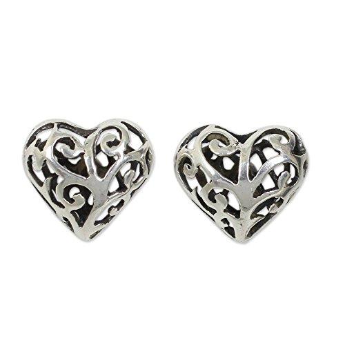 NOVICA .925 Sterling Silver Heart Shaped Stud Post Earrings 'Filigree Love'