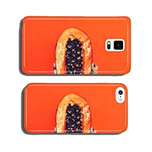 Fashion photo. arm with papaya fruit. orange color in the trend cell phone cover case iPhone6 Plus