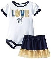 MLB Milwaukee Braves Girls Infant Love My Team Onesie and Skirt Set, White, Newborn 0-3 Months
