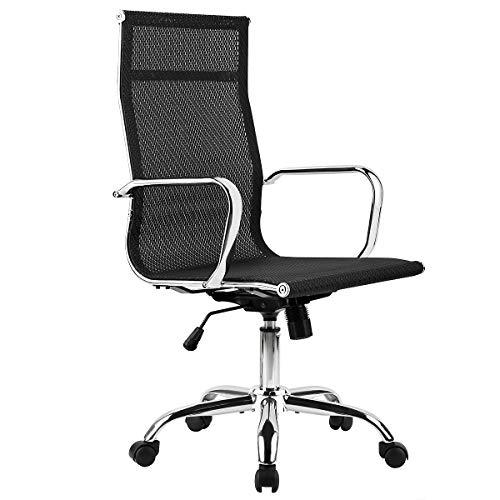Mastery Mart - Silla de oficina estilo Eames, Tejido de malla - Negro, High Back - Without Armrest Cover