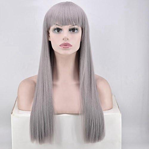 Las mujeres de la peluca larga recta pelo sintético negro y blanco disfraz de Halloween cosplay peluca con peluca: Amazon.es: Belleza