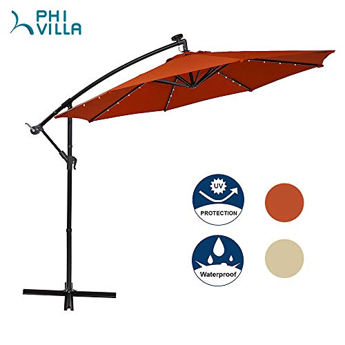 MF STUDIO Offset Cantilever 10ft Solar LED Hanging Outdoor Umbrella with Crossbase, 8 Ribs, Orange Red
