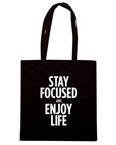 T-Shirtshock - Bolsa para la compra CIT0203 stay focused enjoy life Negro