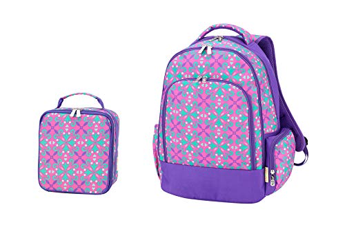 (Lila Purple Quatrefoil 17 x 12 Polyester Fabric Backpack and Lunchbox Set)