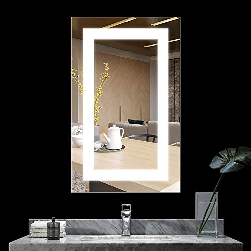 BATH KNOT 20x28 Inch LED Lighted Bathroom Wall Mounted Mirror, Vanity Bathroom -