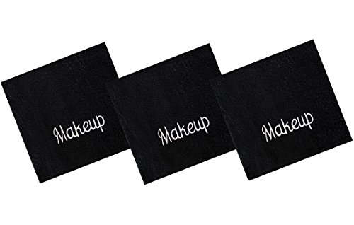 Luxury 100% Cotton Makeup Removal and Cleansing Embroidered Wash Cloths, New Colors, Set of 3 Make-Up Wash Cloths, Black with White Embroidery -