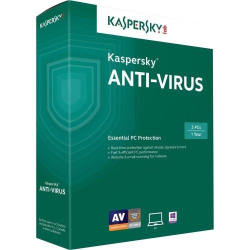 "Kaspersky, Anti-Virus 2015 Box Pack ( 1 Year ) 3 Pcs Win English United States ""Product Category: Software/Antivirus"""
