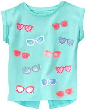 Gymboree Big Girls' Short Sleeve Sunglasses Print Aqua Graphic Tee