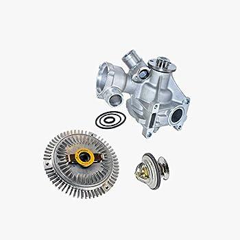 Water Pump + Fan Clutch + Thermostat Kit for Mercedes-Benz 260E 300CE 300E 300SE 300SEL 300TE Premium 1032003701/1032000422/1102000515 (3pcs) New