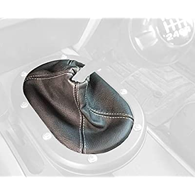 RedlineGoods Shift Boot Compatible with Jeep Wrangler JK 2007-10. Black Alcantara-Silver Thread: Automotive