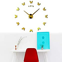Butterfly Wall Clock | Modern DIY Frameless Wall Clock | DIY Modern Wall Clock | Black Silent Non-Ticking Adhesive Wall Clock (Gold)