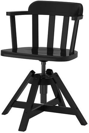 IKEA fEODOR de bureau avec accoudoirs noir et en bois de bouleau massif