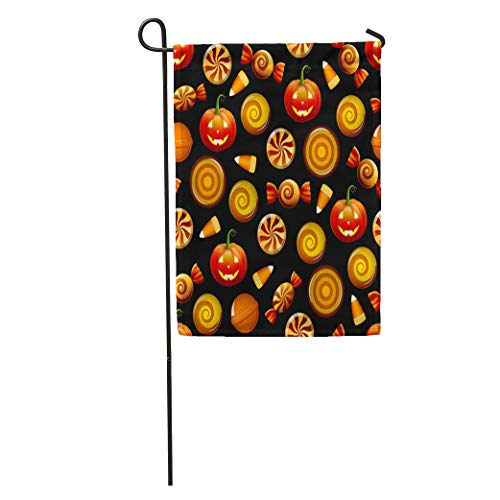 Semtomn Garden Flag Orange Pattern Halloween Candy Sweets Corn and Pumpkins on Circle Home Yard House Decor Barnner Outdoor Stand 12x18 Inches -