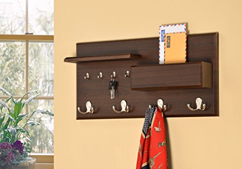 Entryway Coat Rack Mail Envelope Storage and Key Holder Hooks in Cappuccino Finish - Entryway Shelf With Hooks