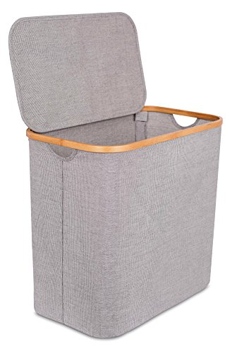 BirdRock Home Bamboo & Canvas Hamper | Single Laundry Basket with Lid | Modern Foldable Hamper | Cut Out Handles | Grey Narrow Design | Great for Kids Adults (Canvas Single Linen)
