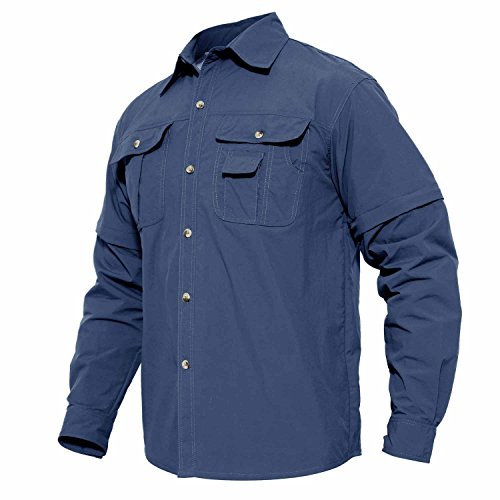 (MAGCOMSEN Men's Highly Breathable and Quick Dry Long Sleeve Woven UPF Hunting Shirt Blue)
