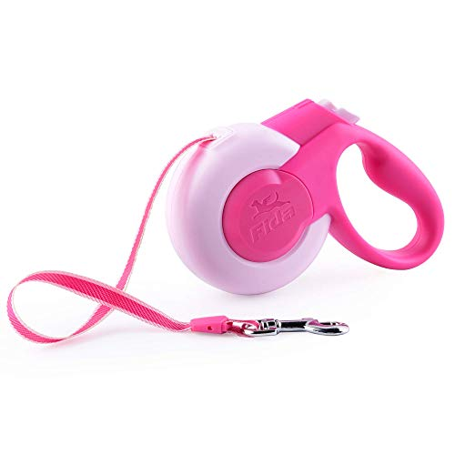 Fida Retractable Dog Leash, 10 ft Dog Walking Leash for X-Small & Small Dogs/Cats up to 26 lbs, Tangle Free, Pink (Animal Retractable Leash Dog)