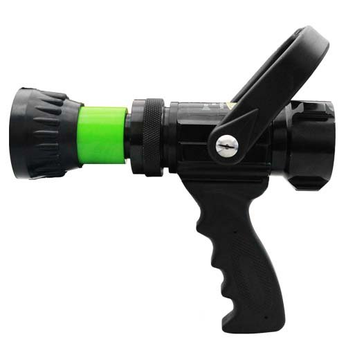 Alumium 1 1/2'' Lime Green NH Nozzle 60 Gallons Per Minute (GPM) with Durable Rubber Bumper by FireHoseDirect (Image #2)