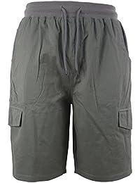 Men's Soft 100% Cotton Twill Cargo Shorts Elastic Waist