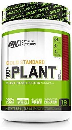 Optimum Nutrition 100% Plant Gold Standard, Proteína Vegana en Polvo, para Masa Muscular y Musculacion, fuente de Vitamina C y B12, Bayas, 19 ...