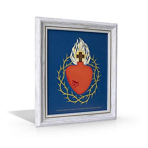 - St Joseph Communications Sacred Heart of Jesus Illustration - Framed Canvas - 10
