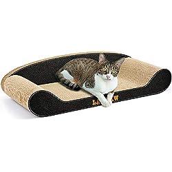 LAMBAW Cat Scratcher Cardboard -23.62 Inch Large Corrugated Cat Scratcher Couch,Scratching Pad or Lounge - Black