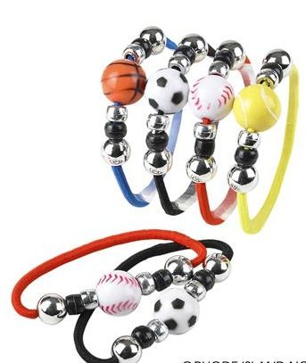 (24) 6 Sport Ball Stretch Bracelets ~ Great Party Favor ~ by RIN by RIN