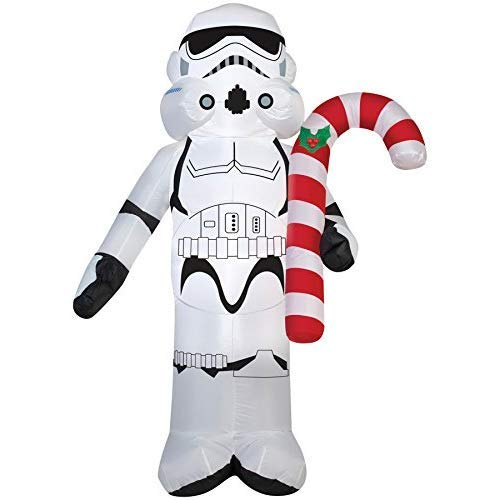 UHC Airblown Inflatable Stormtrooper w/Candy Cane Holiday Christmas Decoration -