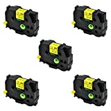 SuperInk 5 Pack Compatible for Brother HSe-651 HSe651 HS-651 HS651 Black on Yellow Heat Shrink Tube Label Tape use in Brother PT-E500 PT-E550W PT-P750WVP Printer (0.92''x 4.92ft, 23.6mm x 1.5m)