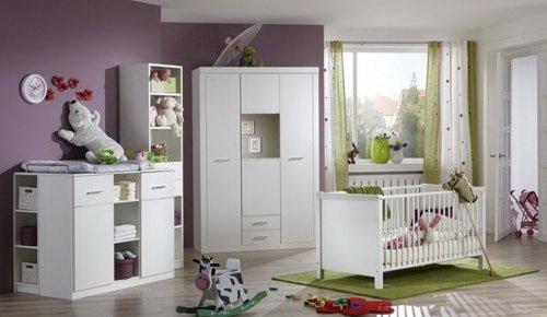 Babyzimmer 3-tlg. in Alpinweiß mit Strasskristallen, 2-rg. Schrank B: 135 cm, Wickelkommode B: 122 cm, Babybett Liegefläche 70 x 140 cm